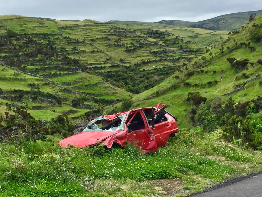 A car crashed and left at the side of the road following an accident.