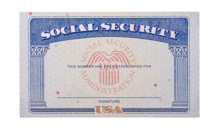 A blank U.S. social security card