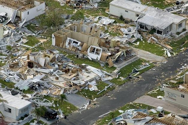 Devastation because of a hurricane